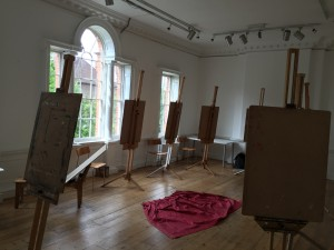 Studio easels set up for a workshop