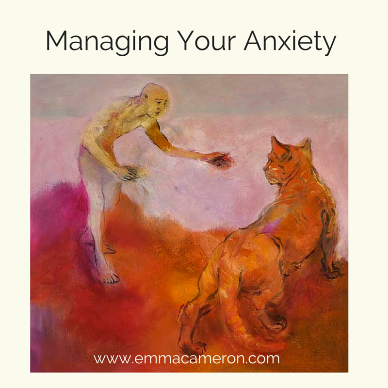 Anxiety. Painting of a man and a tiger ©Emma Cameron 2015