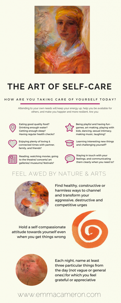 infographic about self-care by Emma Cameron