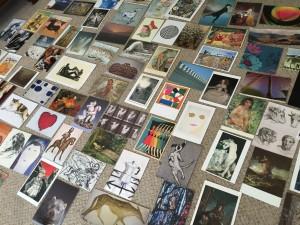 Photograph of art postcards