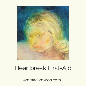 Painting of a woman, caption says 'Heartbreak First-Aid'