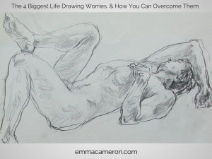 Life drawing of male model lying on his back