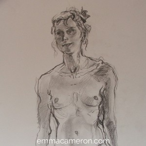 Life drawing of woman standing