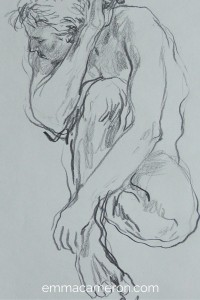 Life Drawing of seated man twisting round