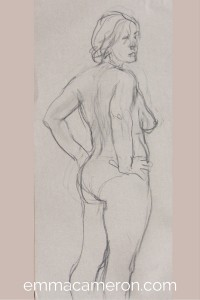 Life drawing of standing woman partially clothed