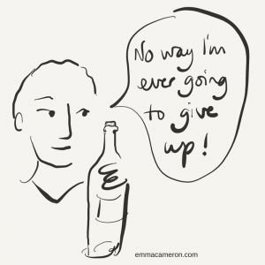 Person with wine bottle, declaring 'No way I'm ever going to give up!'