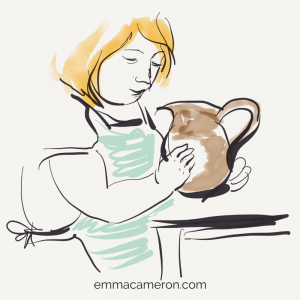 Woman holding pot