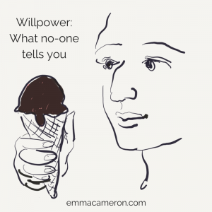 Willpower. Picture of a person looking at an ice-cream