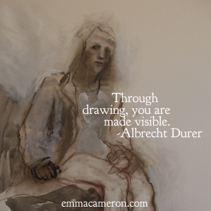Drawing of girl sitting. Quote from Durer.