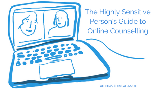 Illustration of laptop computer Highly Sensitive Person's Guide to Online Counselling