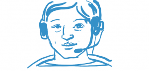 Online counsellor wearing headset