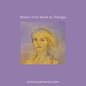 When I First Went to Therapy. Title and painting of girll