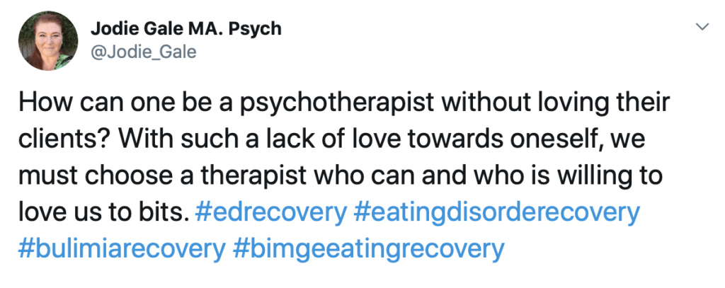 love in psychotherapy - Twitter post